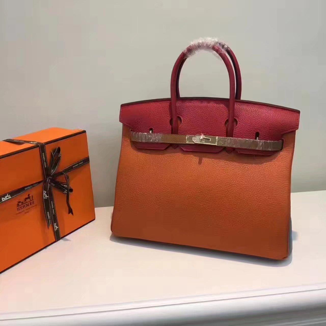 Hermes Birkin 35/30cm Bag Tri-Color Handbag Orange Gold