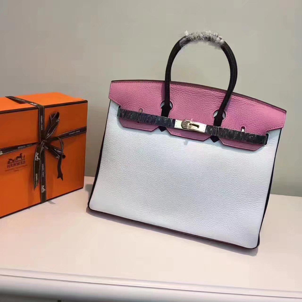 Hermes Birkin 35/30cm Bag Tri-Color Handbag White Gold