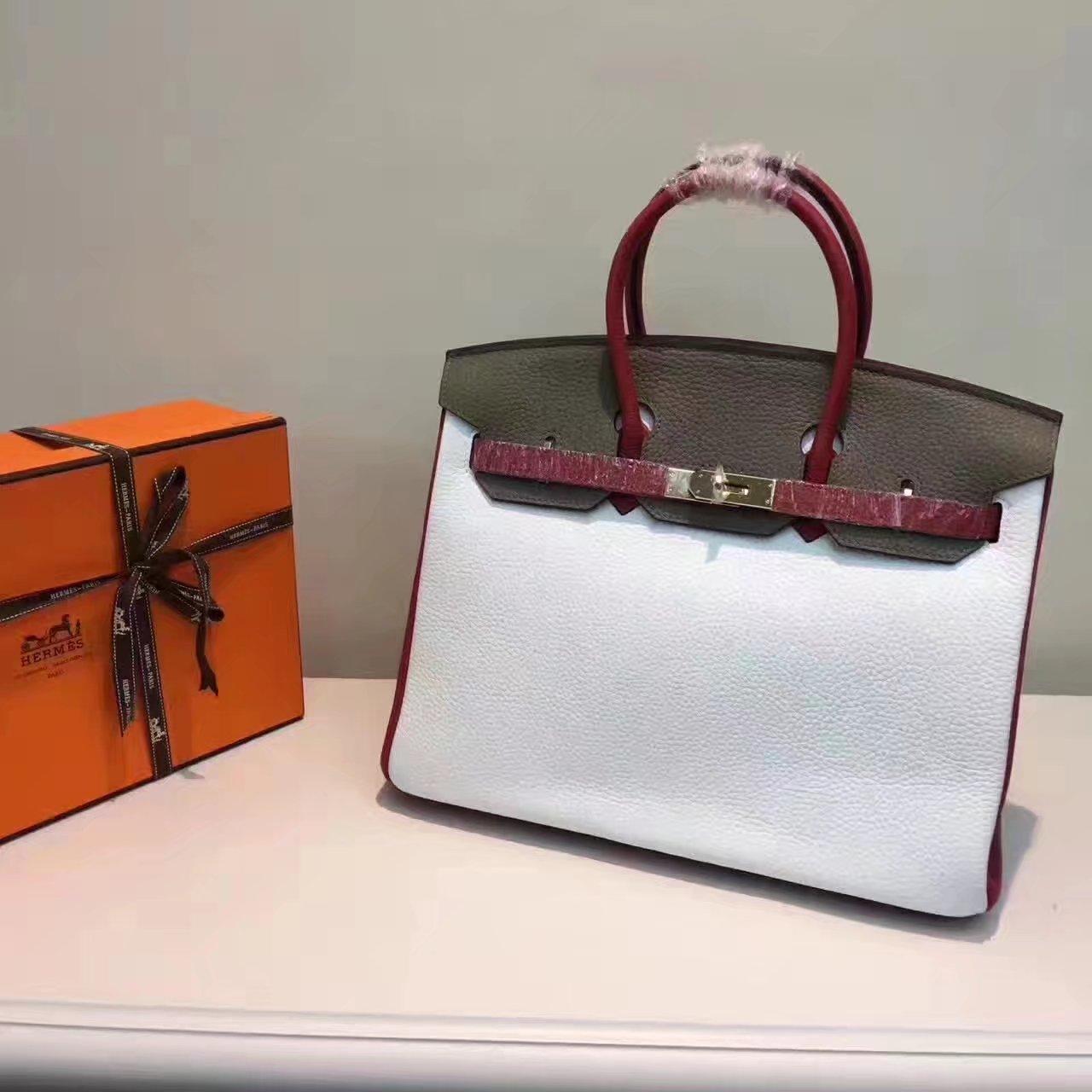 Hermes Birkin 35/30cm Bag Tri-Color Handbag White-Grey Gold