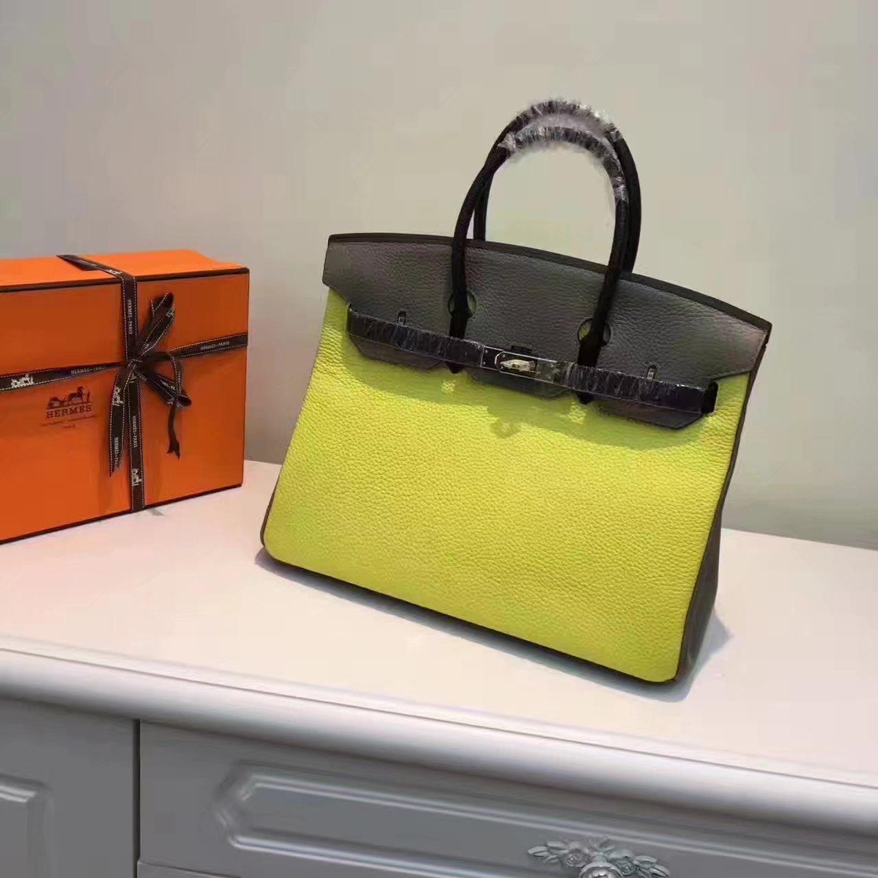Hermes Birkin 35/30cm Bag Tri-Color Handbag Yellow Gold
