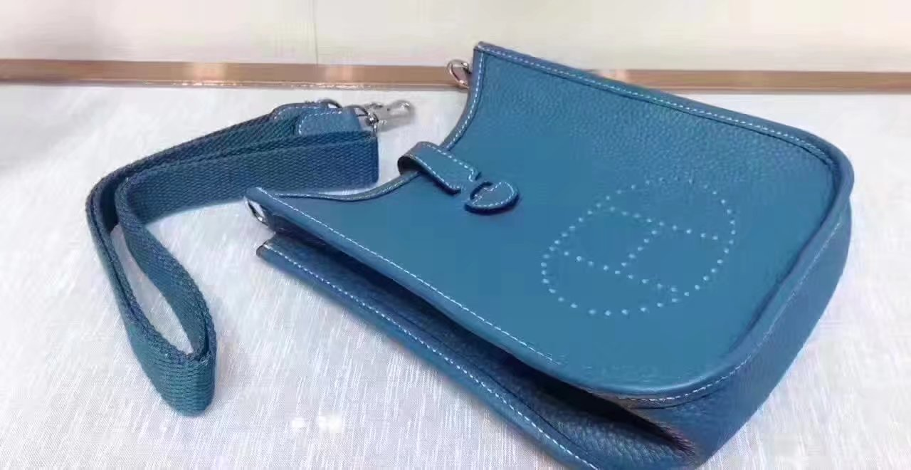 Hermes Evelyne Mini Leather Bag Blue