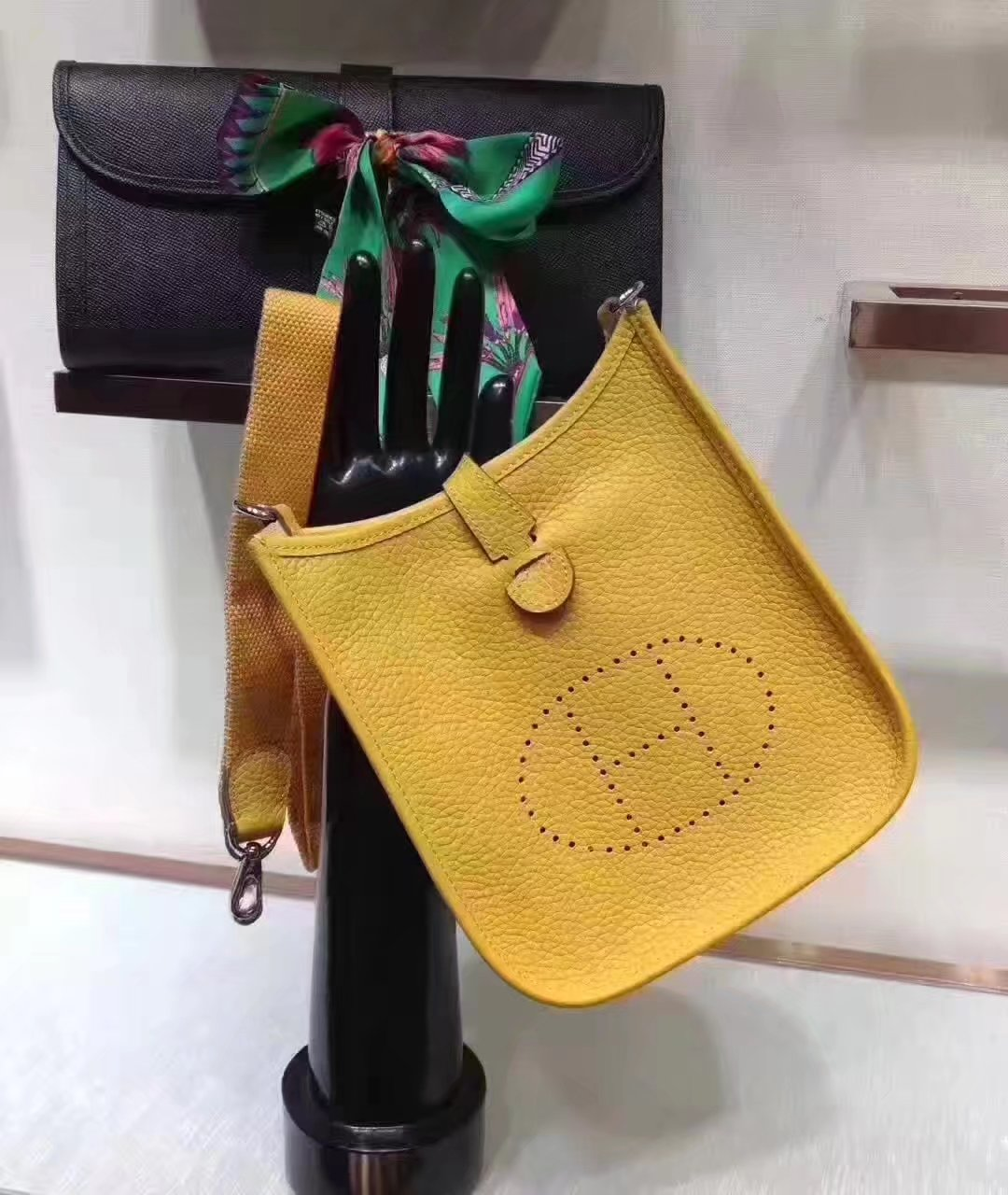 Hermes Evelyne Mini Leather Bag Yellow