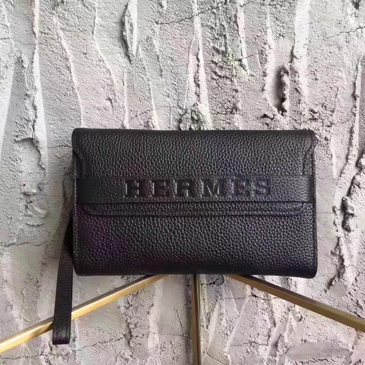 Hermes H001 Men Leather Clutch Bag in Black