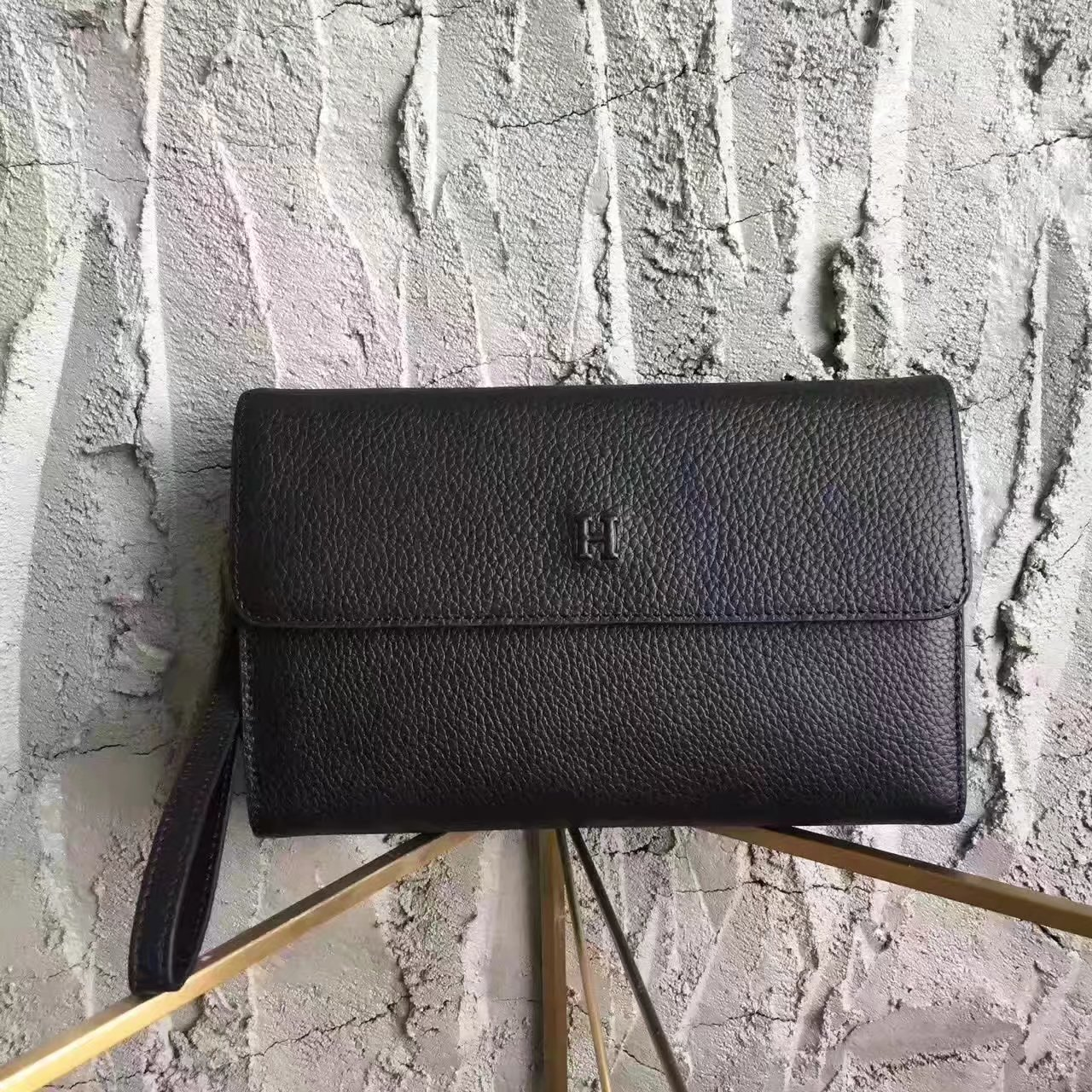 Hermes H003 Men Leather Clutch Bag in Black