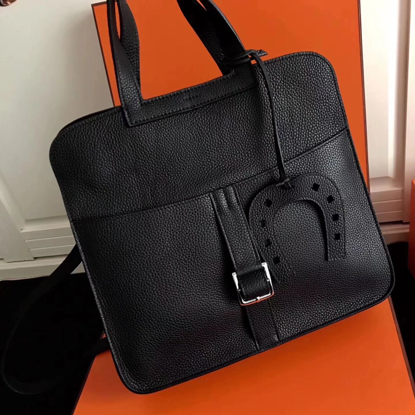 Hermes Halzan 31cm Black Swift Calfskin Bag