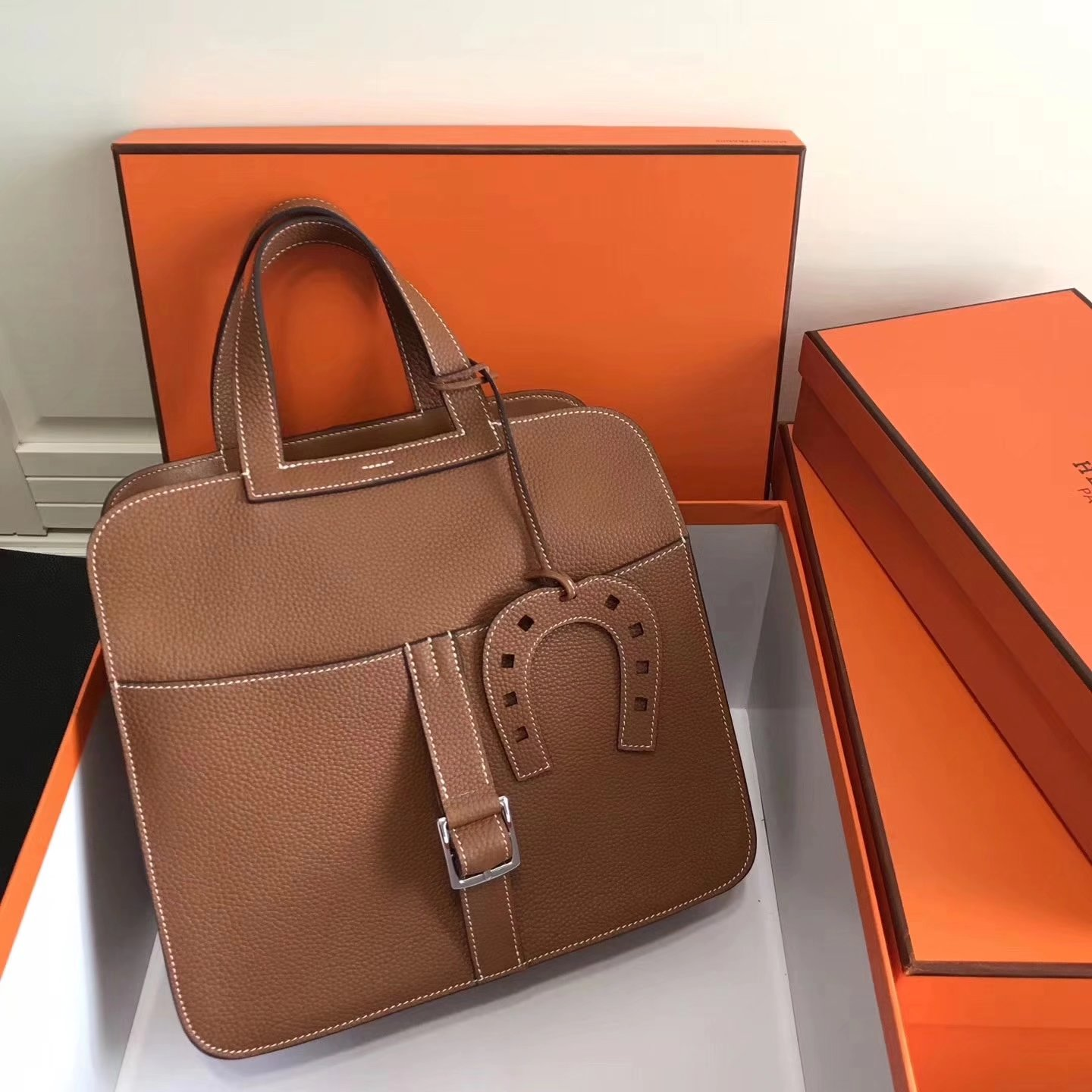 Hermes Halzan 31cm Coffee Swift Calfskin Bag
