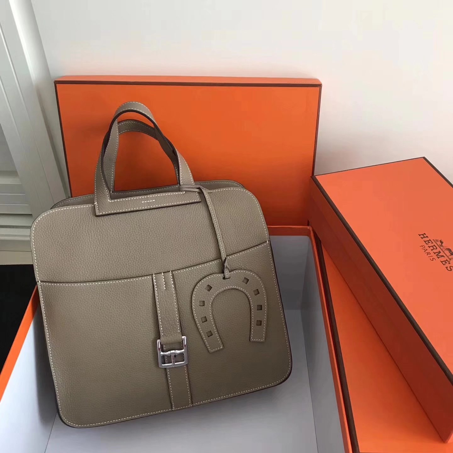 Hermes Halzan 31cm Grey Swift Calfskin Bag