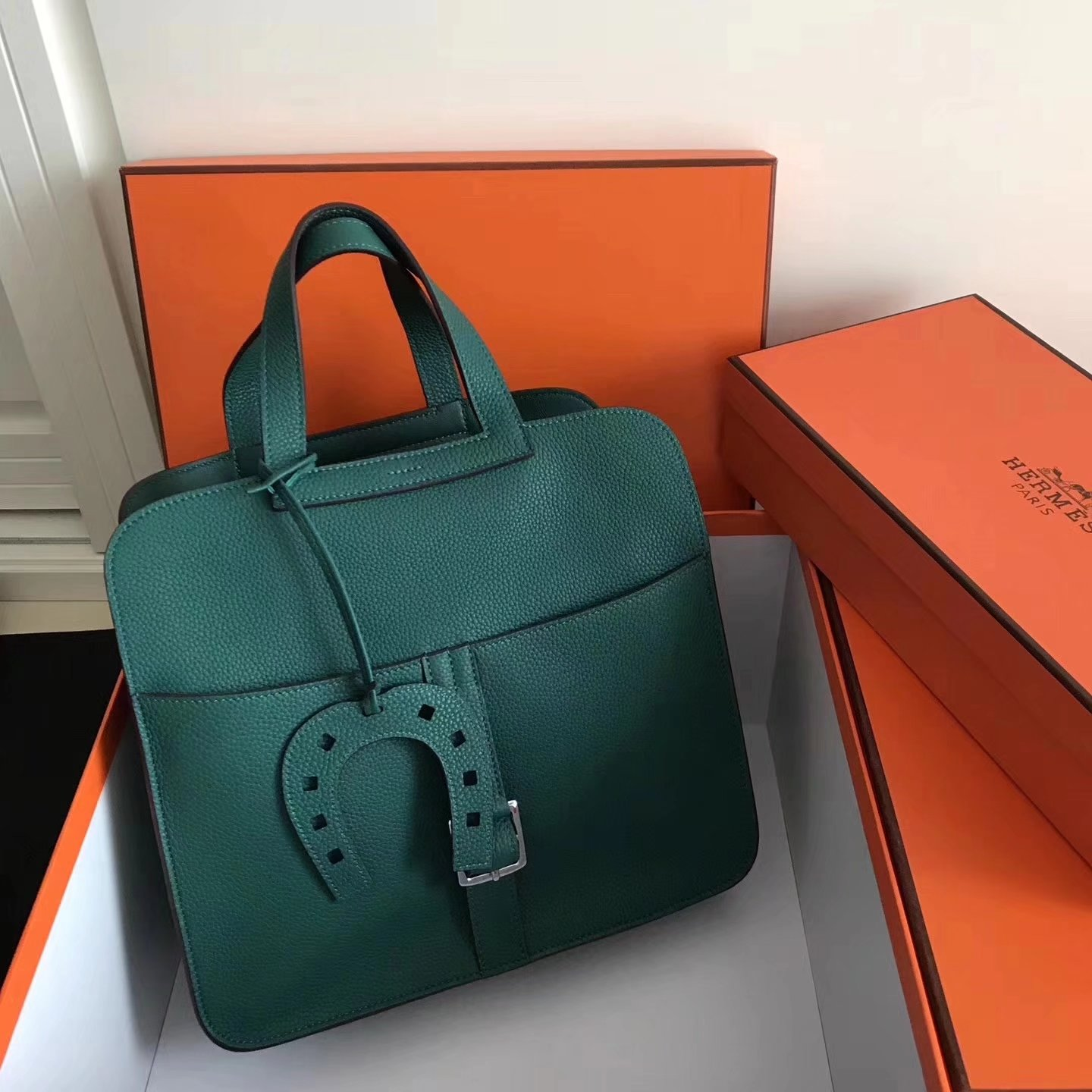 Hermes Halzan 31cm Malachite Swift Calfskin Bag
