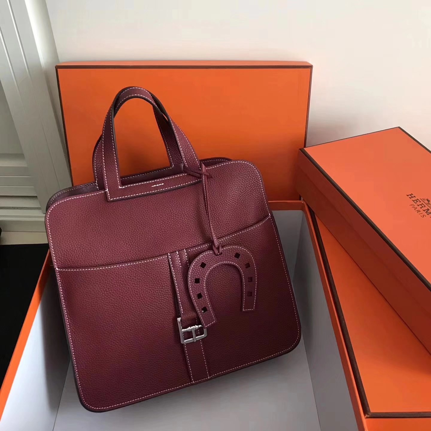 Hermes Halzan 31cm Red Swift Calfskin Bag