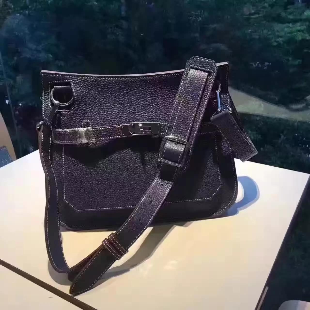 Hermes Jypsiere Leather Shoulder Bag Blue