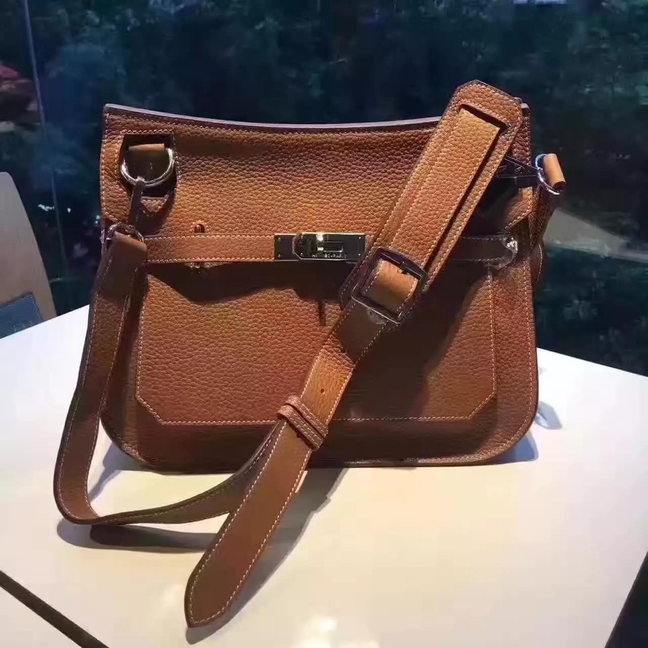 Hermes Jypsiere Leather Shoulder Bag Coffee