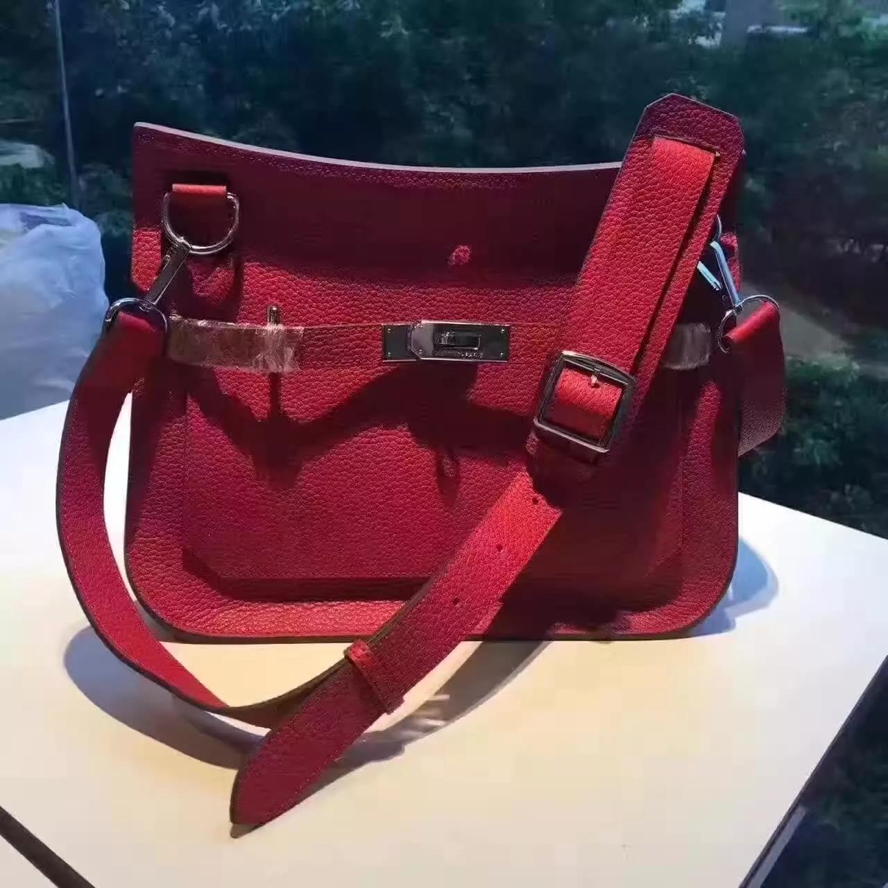 Hermes Jypsiere Leather Shoulder Bag Red