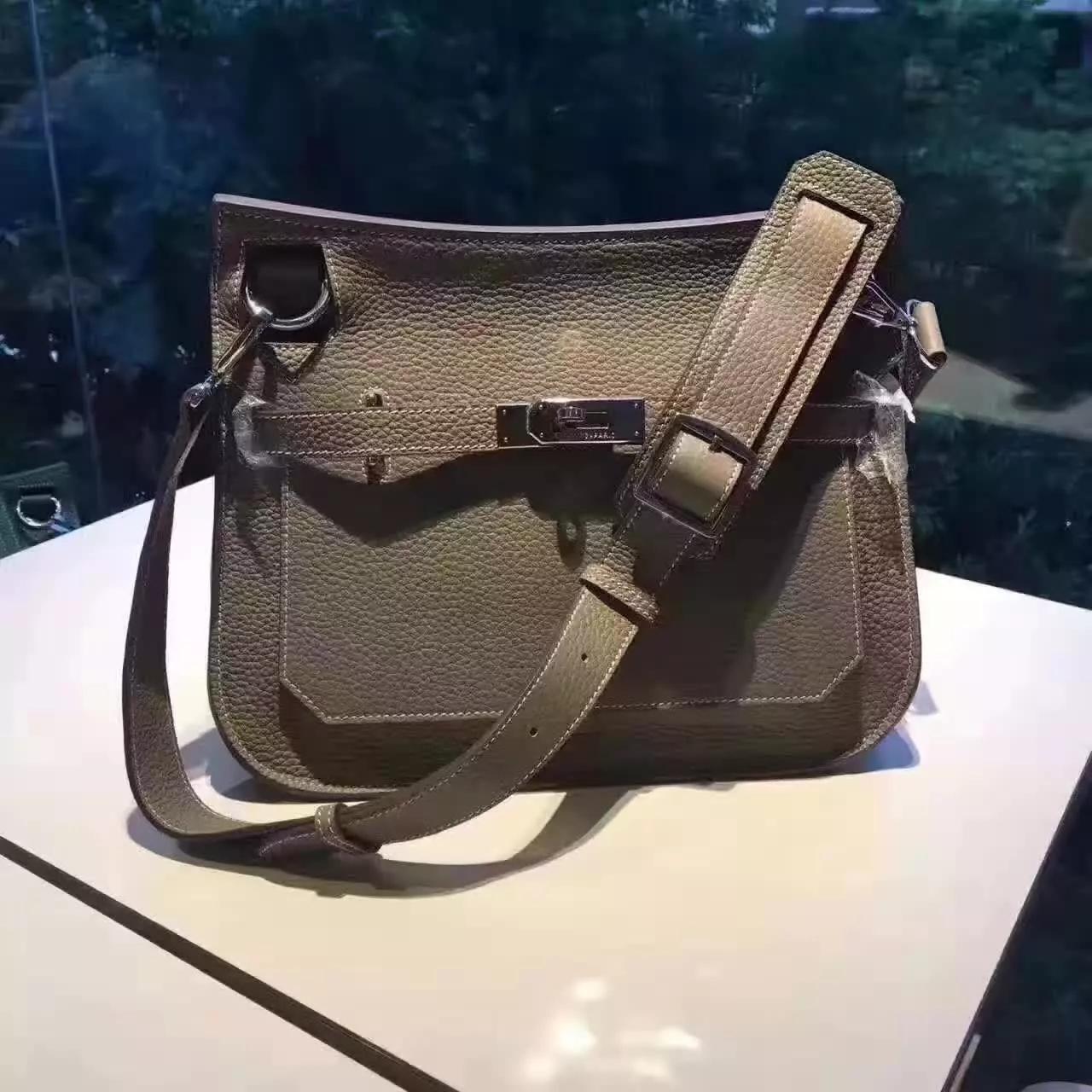 Hermes Jypsiere Leather Shoulder Bag Grey