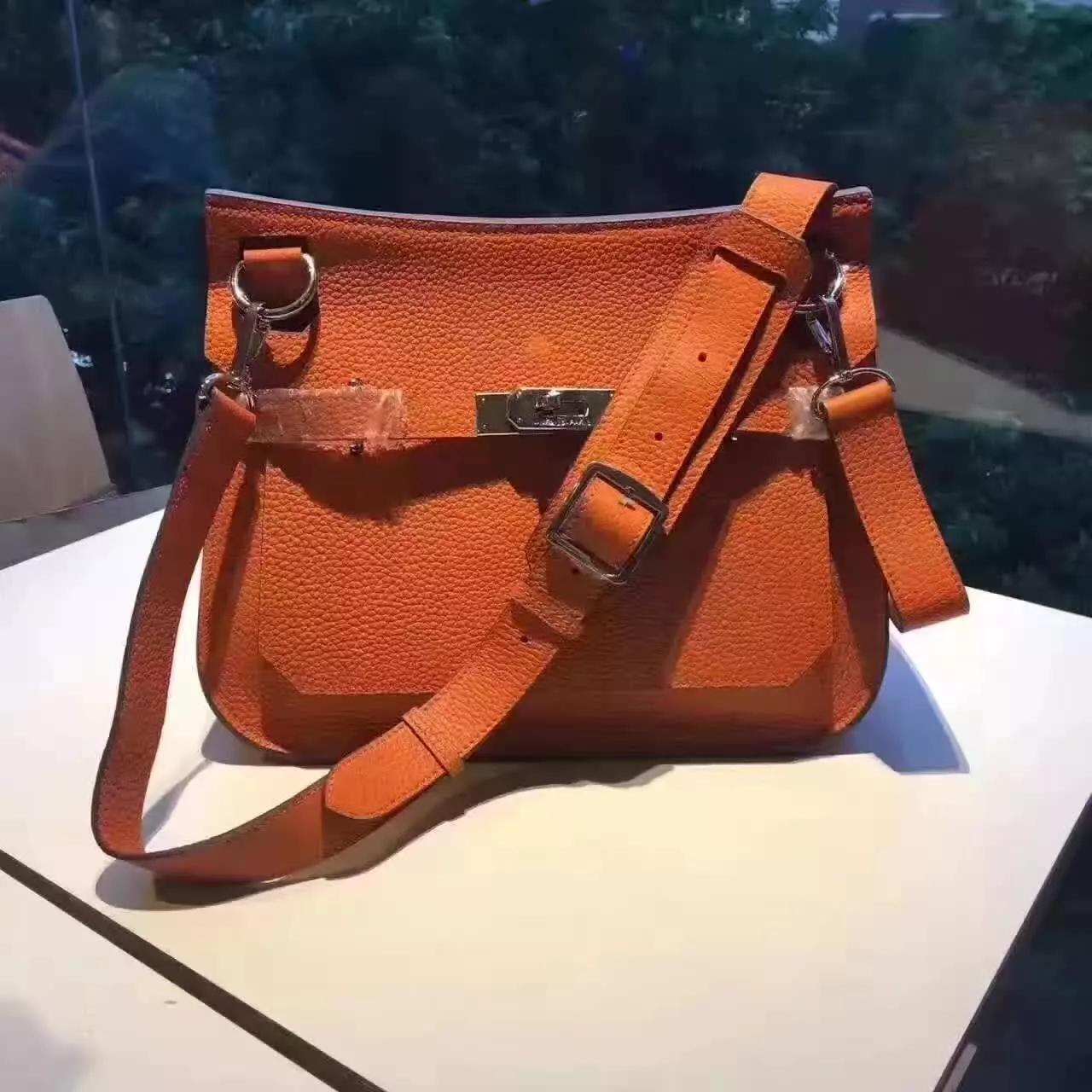 Hermes Jypsiere Leather Shoulder Bag Orange
