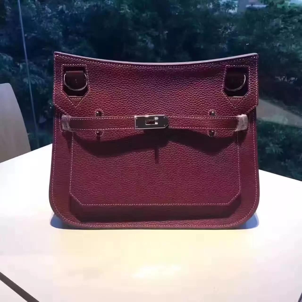Hermes Jypsiere Leather Shoulder Bag Dark Red