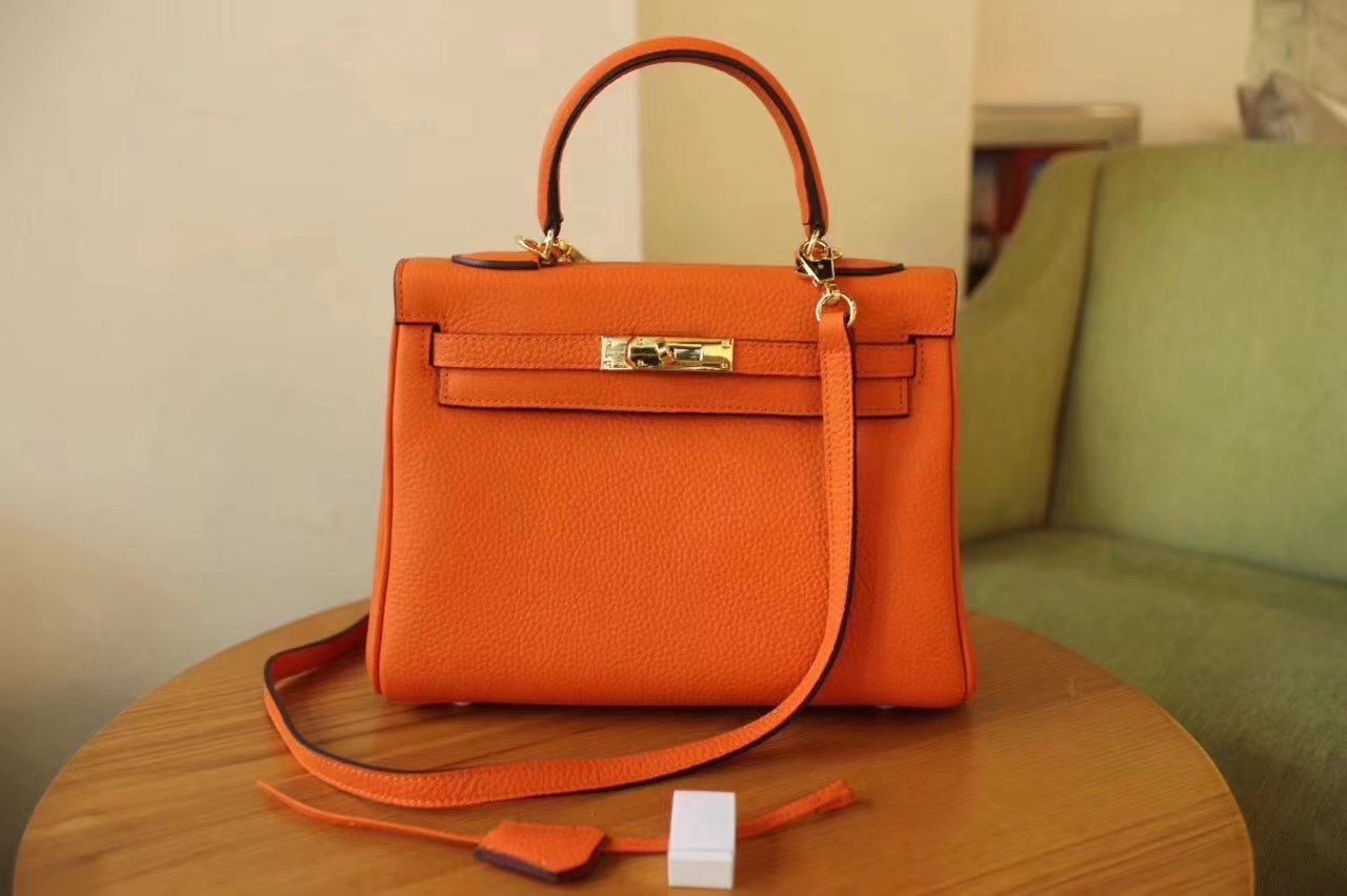 Hermes Kelly Togo Leather Handbag 25cm 28cm 32cm Orange With Gold Hardware