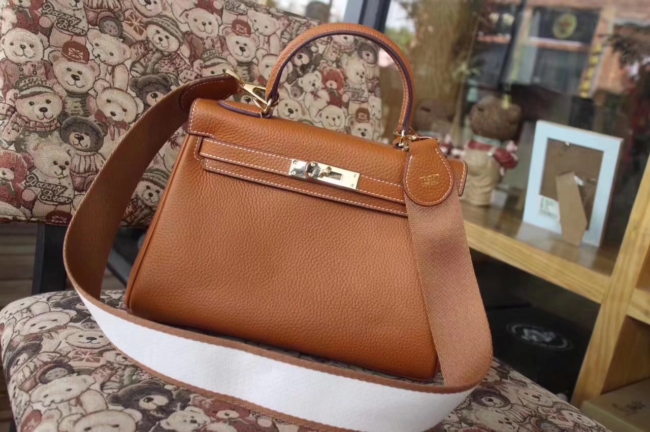 Hermes Kelly Togo Leather Handbag Wide Straps 25cm 28cm 32cm Coffee With Gold Hardware