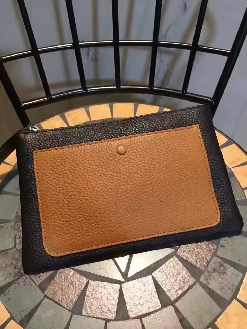 Hermes Leather 24cm Men's Pouch Light Coffee and Black