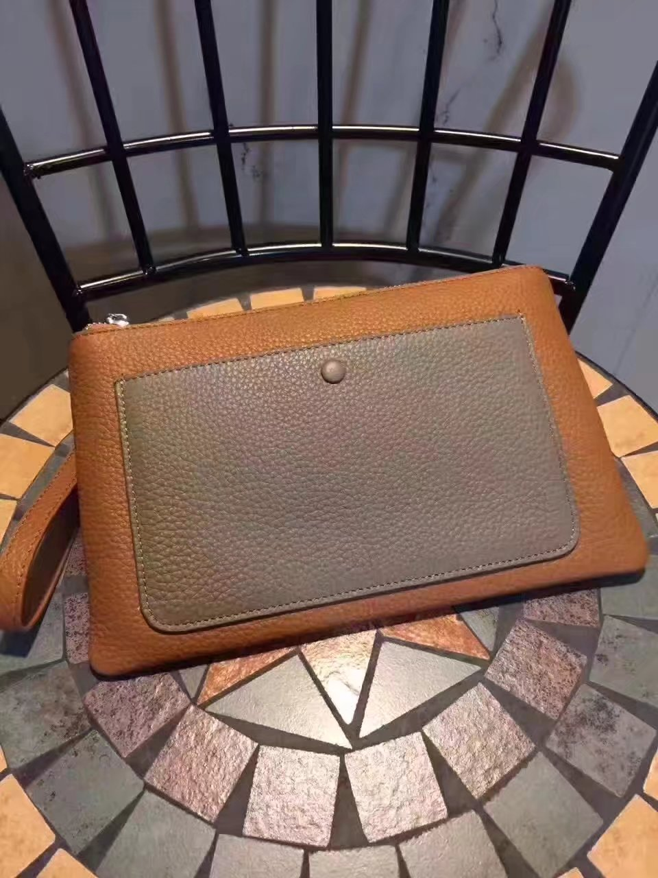 Hermes Leather 24cm Men's Pouch Light Coffee and Grey