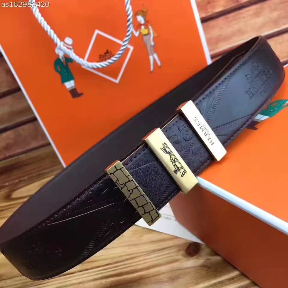 Hermes Leather Reversible Black Belt With Gold Buckle 012