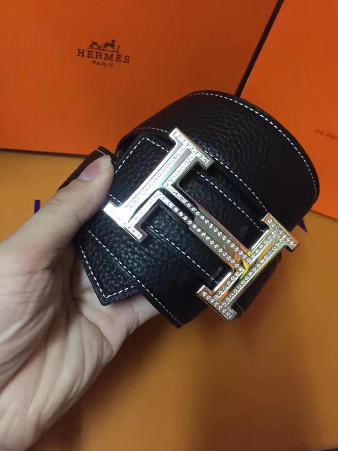 Hermes Leather Reversible Black Belt With Silver H Buckle Diamonds 007