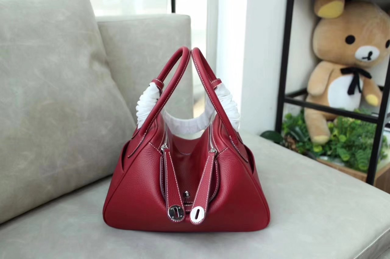 Hermes Lindy Red Swift Calf Togo Leather Shoulder Bag