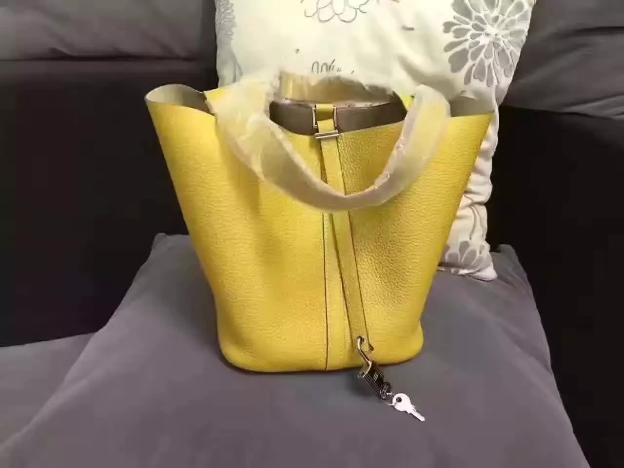 Hermes Picotin Lock Gold Leather Bag Yellow