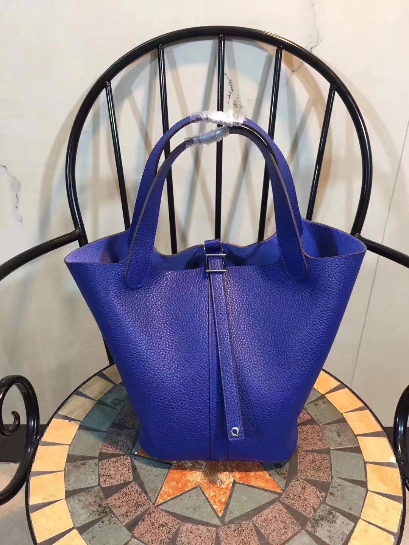 Hermes Poction 18cm 22cm Swift Calf Togo Leather Tote Bag Blue