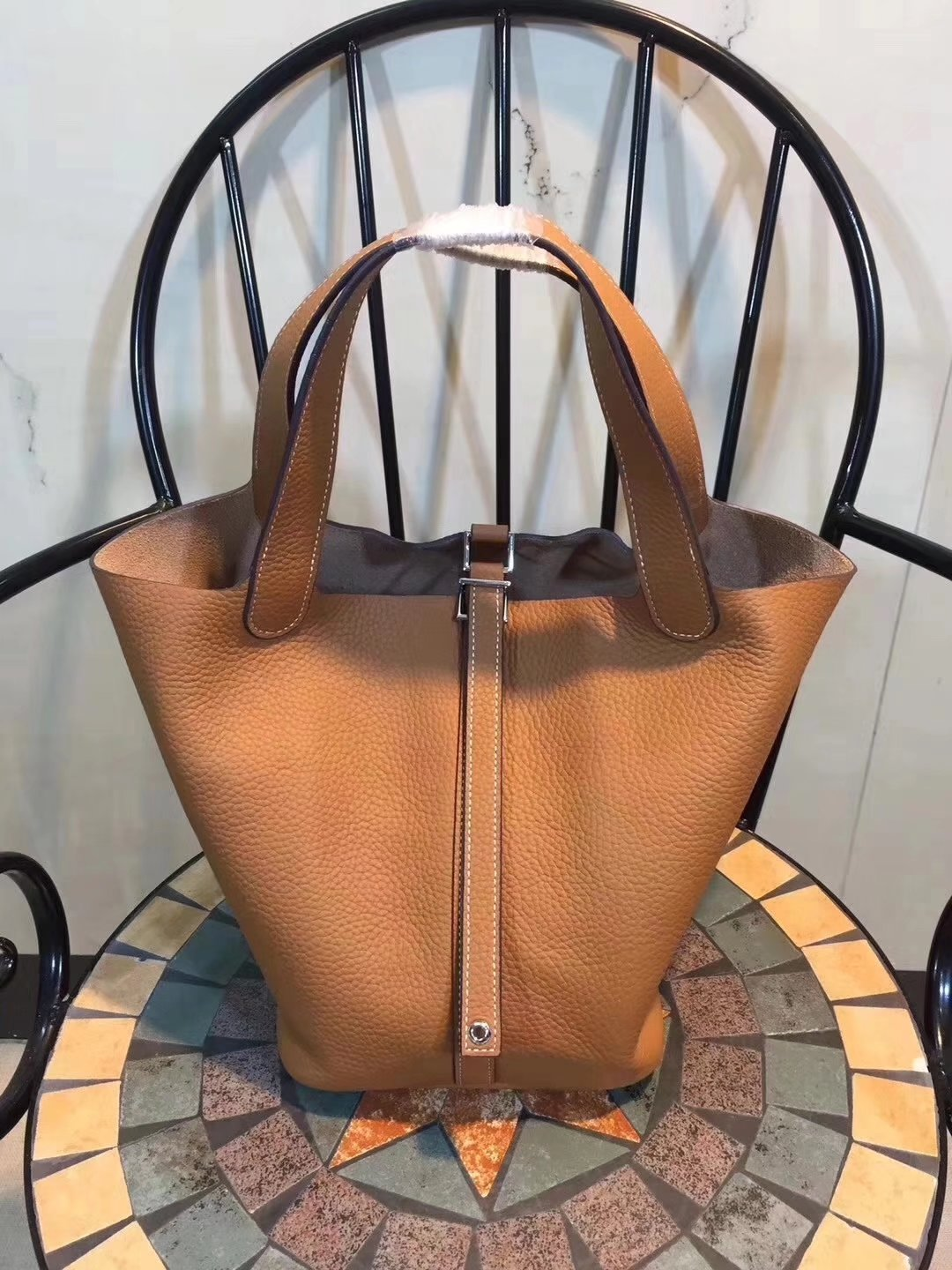 Hermes Poction 18cm 22cm Swift Calf Togo Leather Tote Bag Coffee