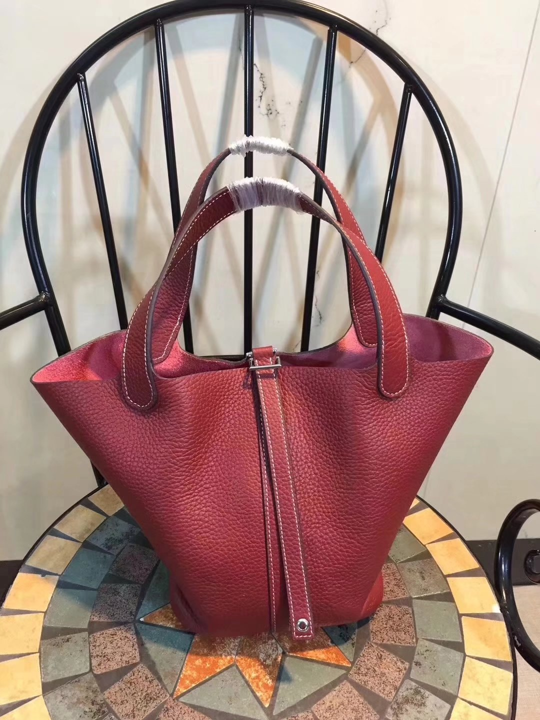 Hermes Poction 18cm 22cm Swift Calf Togo Leather Tote Bag Deep Red