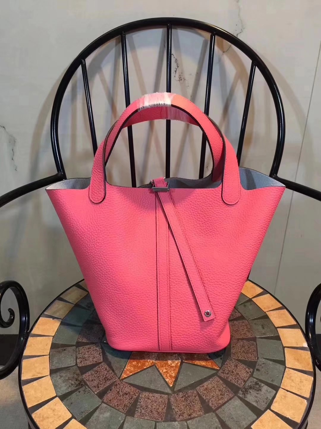 Hermes Poction 18cm 22cm Swift Calf Togo Leather Tote Bag Peach
