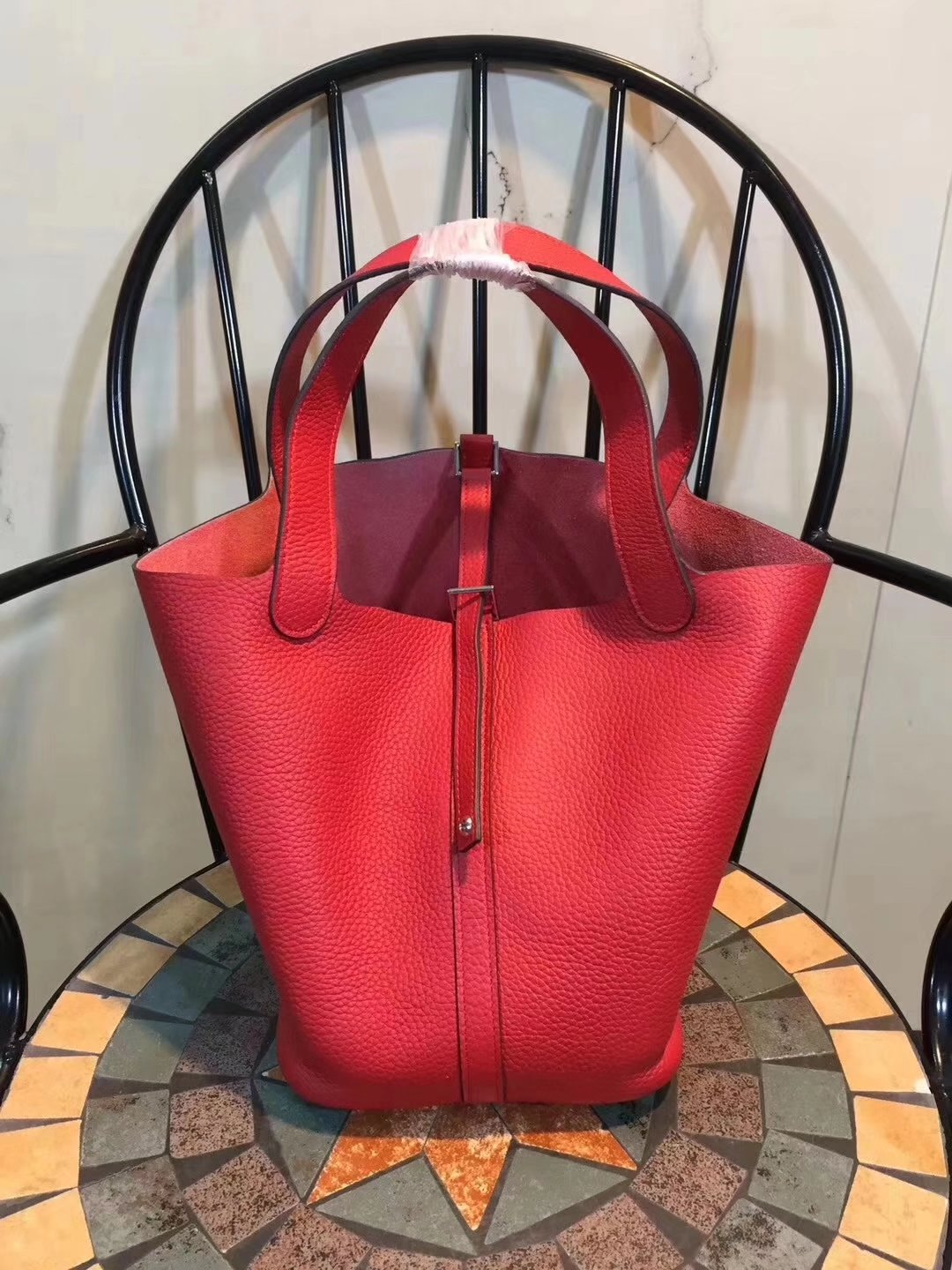 Hermes Poction 18cm 22cm Swift Calf Togo Leather Tote Bag Red