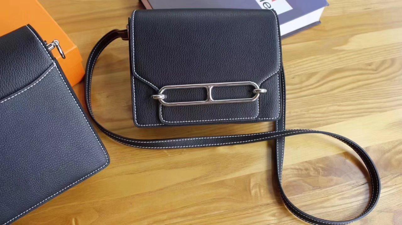Hermes Roulis Black Swift Calf Togo Leather Shoulder Bag With Silver Hardware