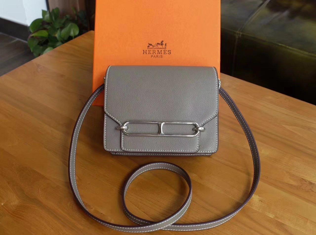 Hermes Roulis Grey Swift Calf Togo Leather Shoulder Bag With  Silver Hardware