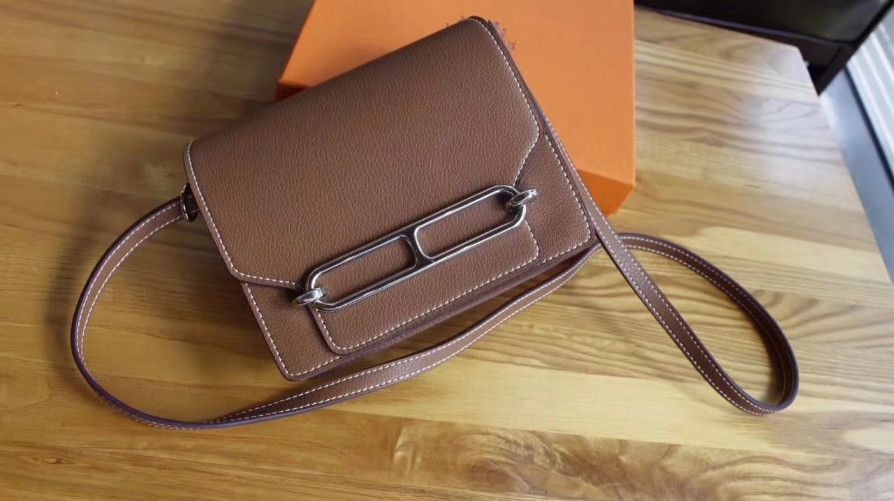 Hermes Roulis Light Coffee Swift Calf Togo Leather Shoulder Bag With Silver Hardware