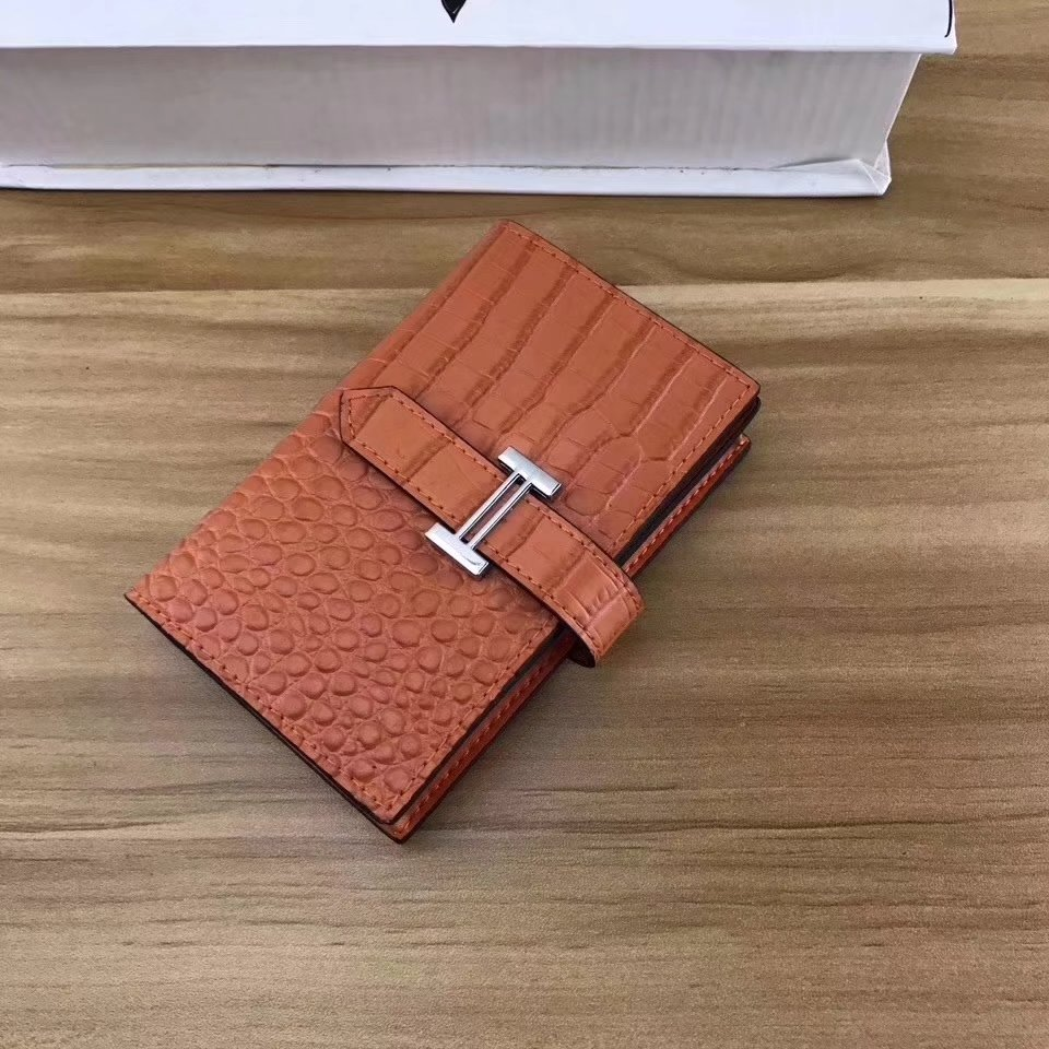 Hermes Women Card Wallet Crocodile Leather Orange