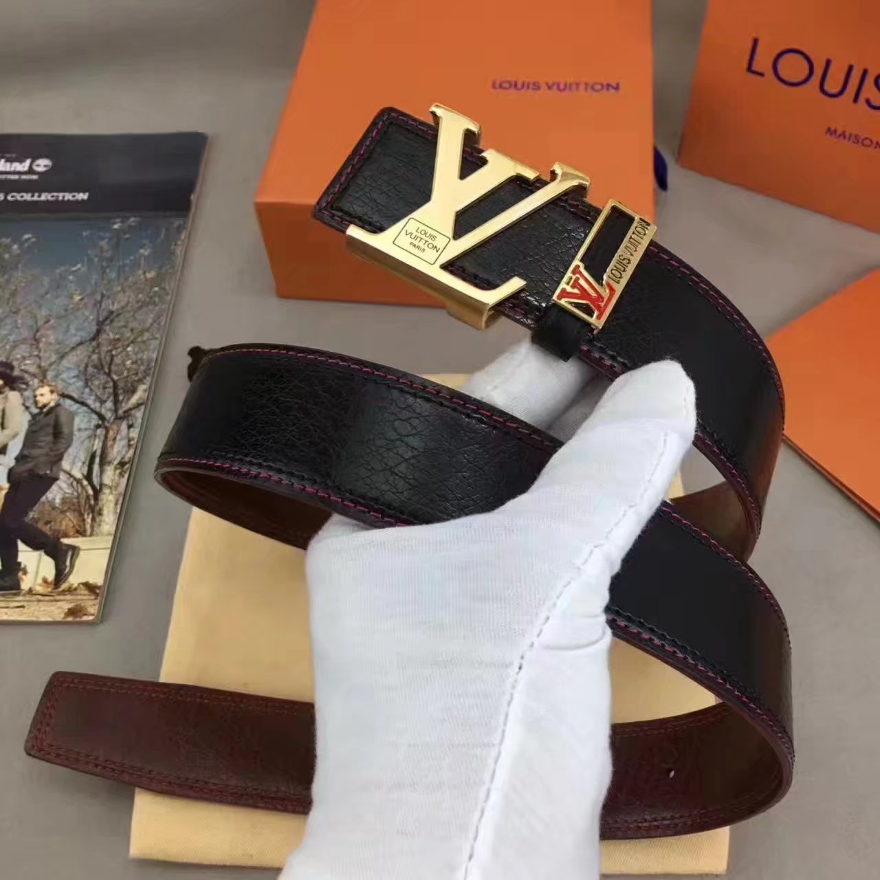 Louis Vuitton Leather Reversible Black Belt 003