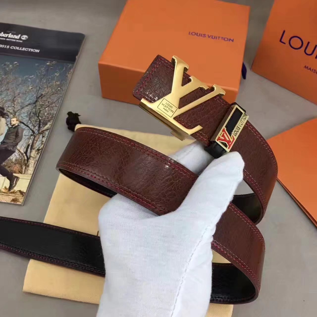 Louis Vuitton Leather Reversible Brown Belt 002