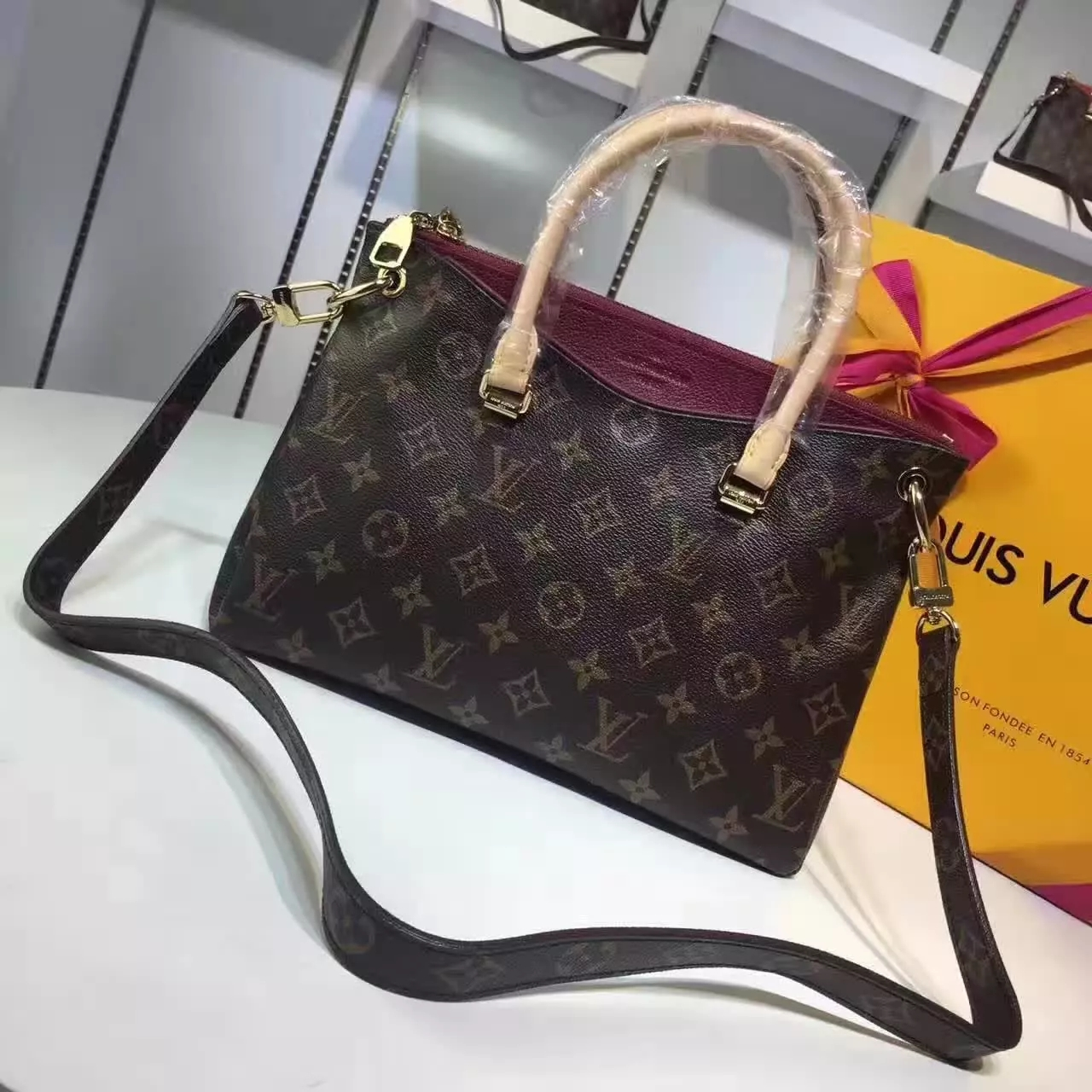 Louis Vuitton M41825 Pallas BB Raisin Monogram Canvas Women Bags