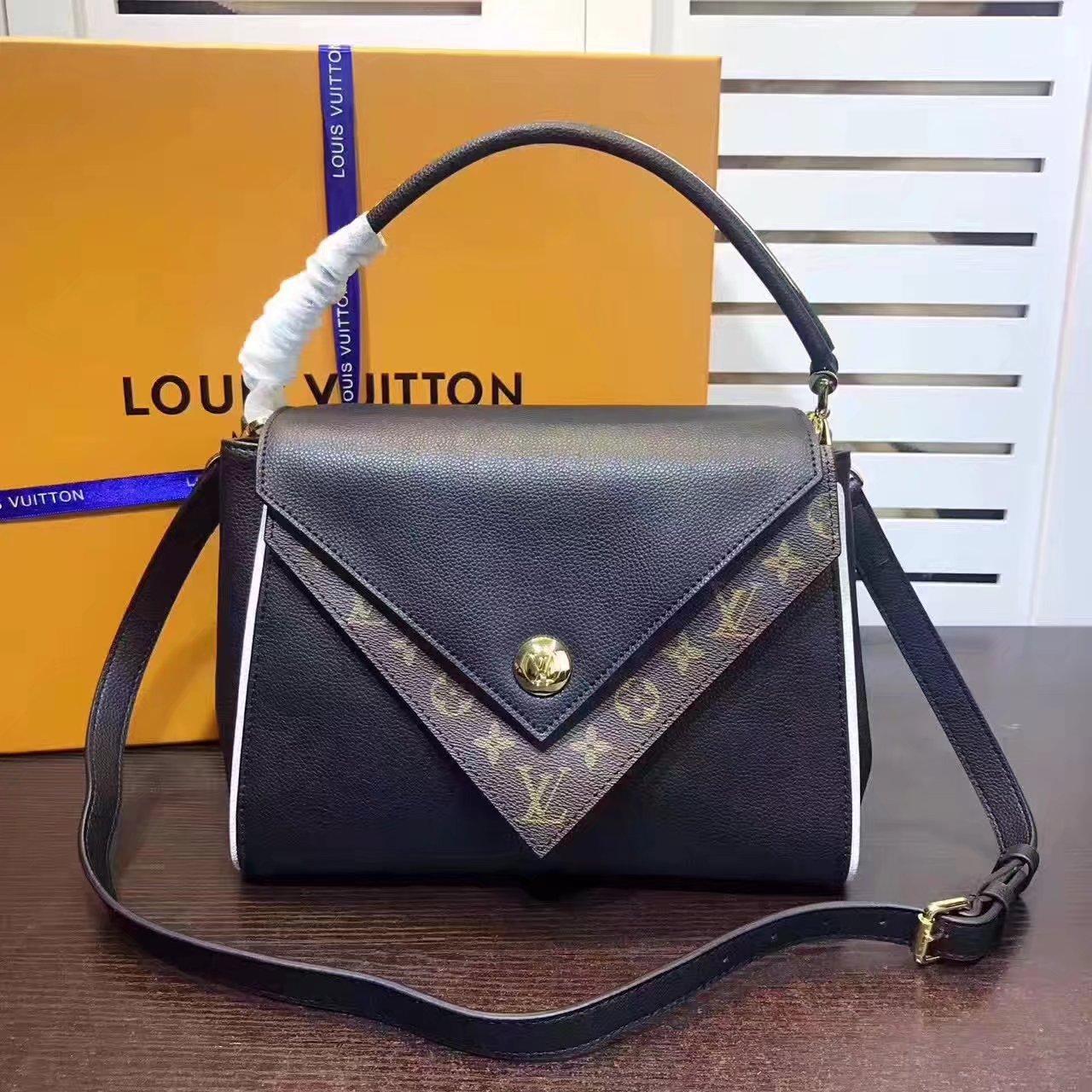 c0457b02a55 Louis Vuitton M54439 Double V Monogram Canvas Flap Tote Bag