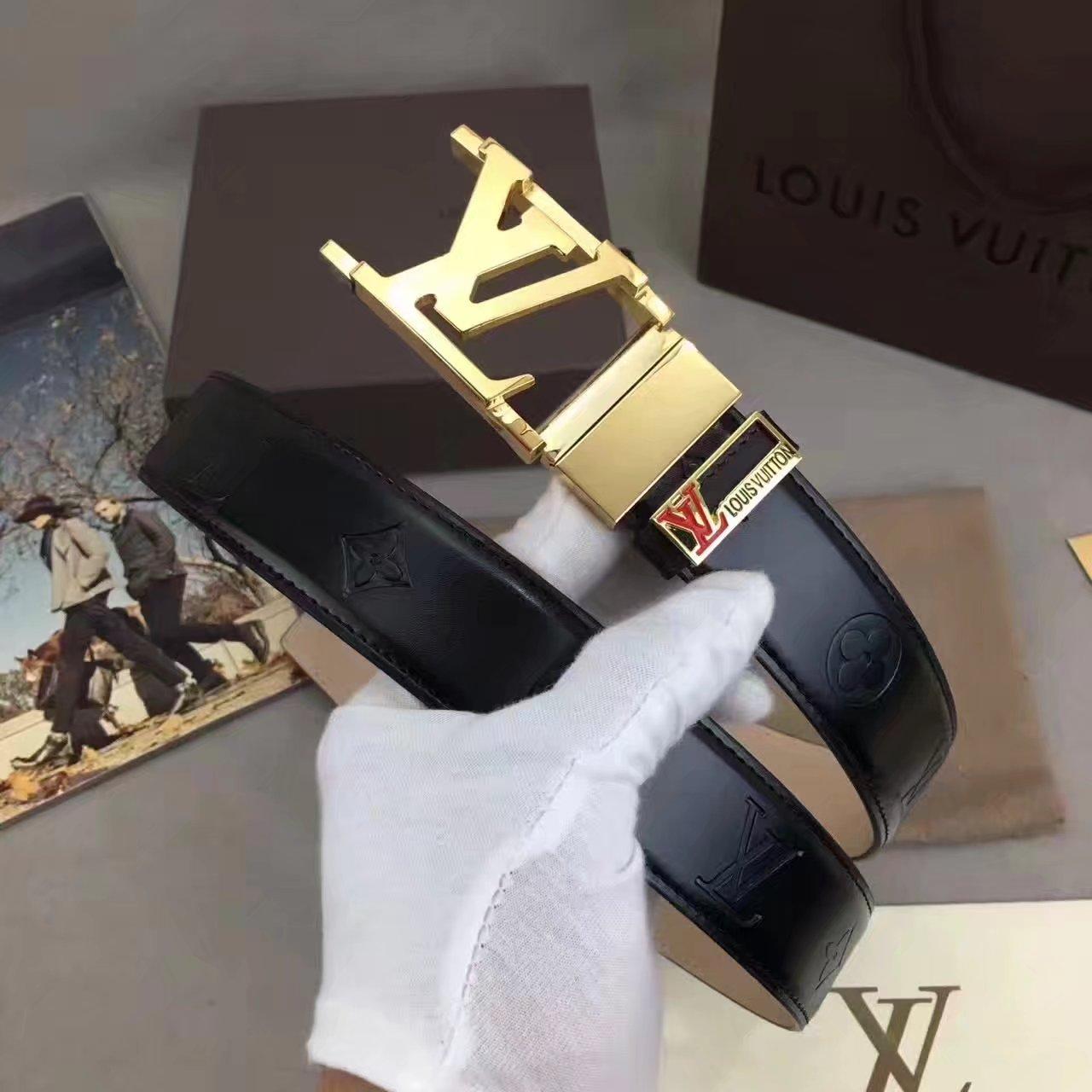 Louis Vuitton Men Reversible Belt With Gold Buckle 009