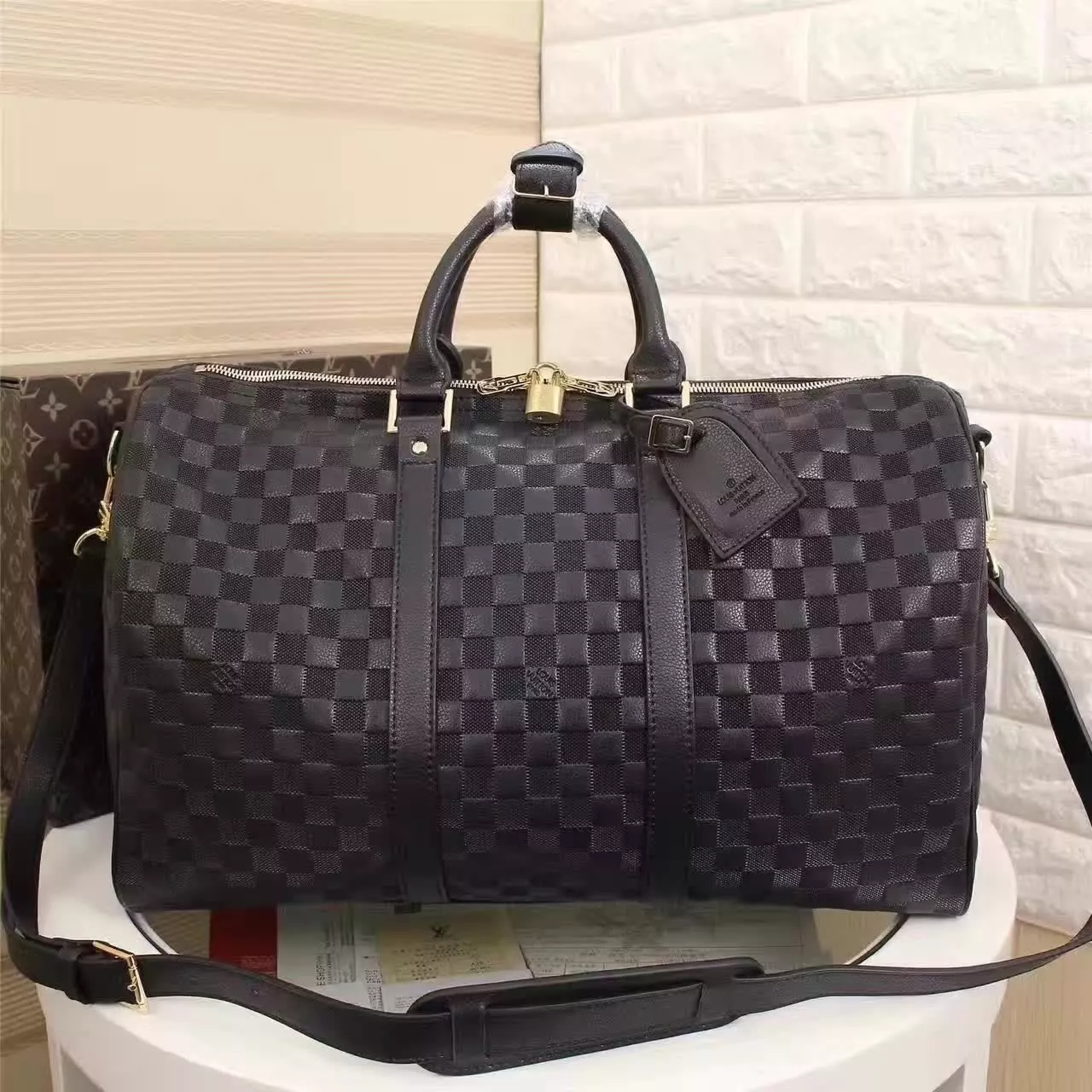Louis Vuitton N41145 Keepall Bandoulière 45 Onyx Damier Infini Leather Travel Bags