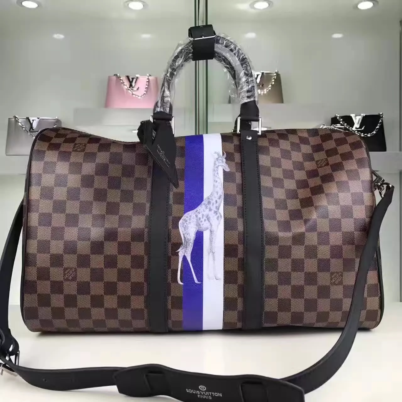 Louis Vuitton N42700 Keepall 45 Bandouliere Damier Ebene Canvas Travel Bag