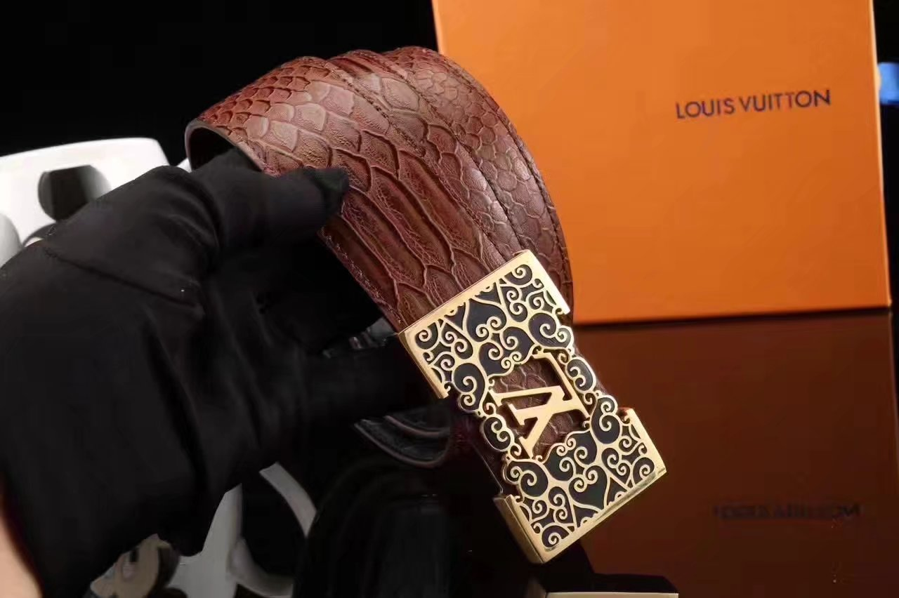 Louis Vuitton Snake Stripe Leather Reversible Brown Belt 004