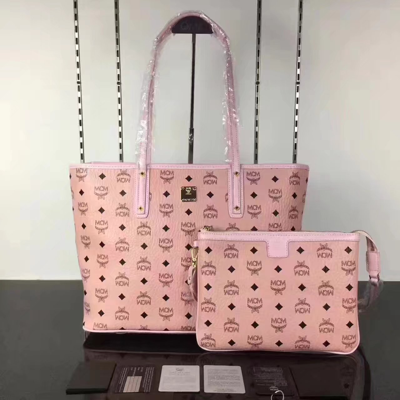 MCM Anya Top Zip Shopper With Detachable Interior Pouch Light Pink