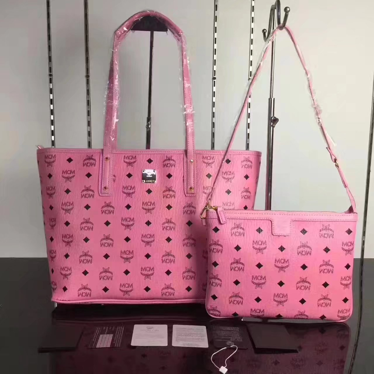 MCM Anya Top Zip Shopper With Detachable Interior Pouch Pink