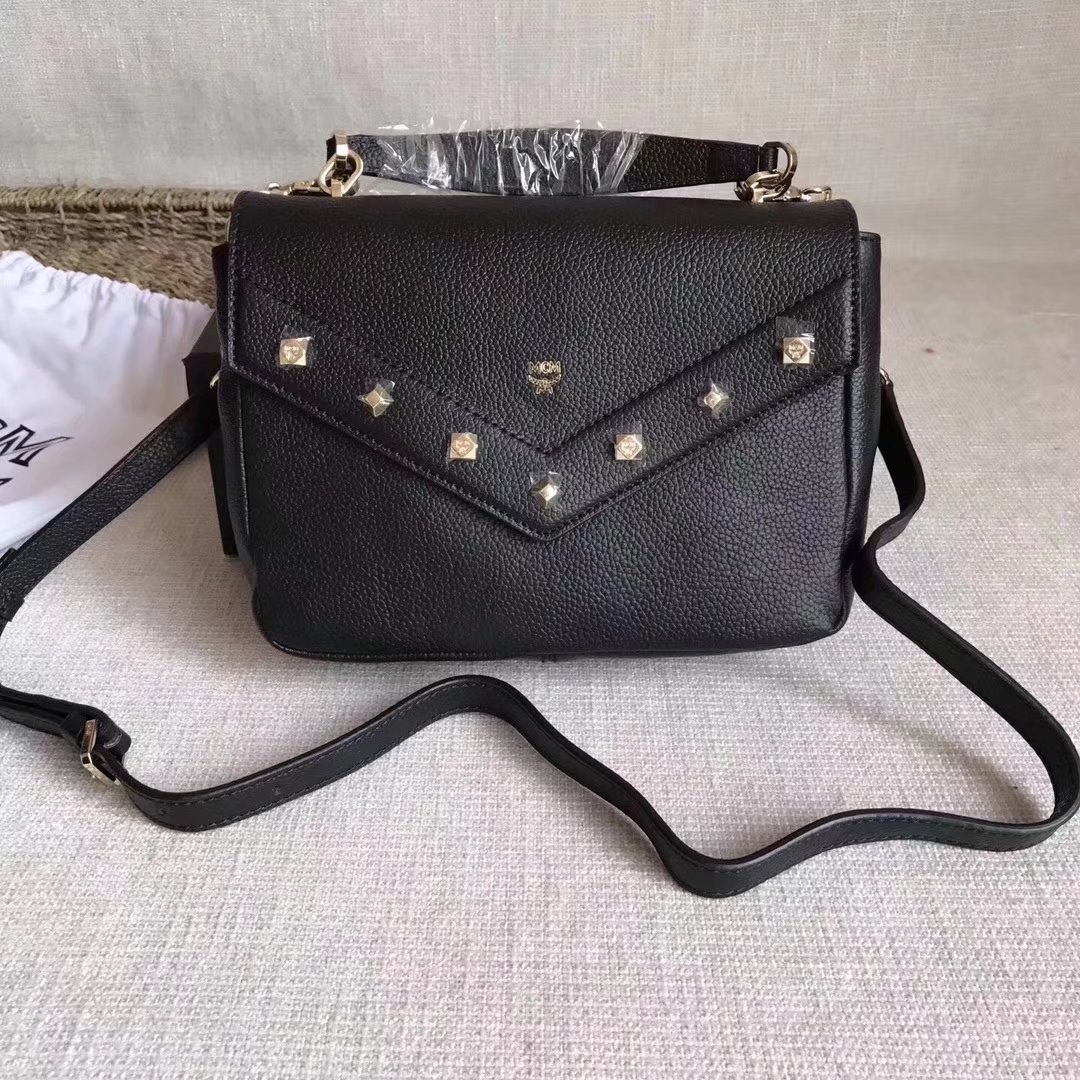 MCM Catherine Studs Shoulder Bag Black