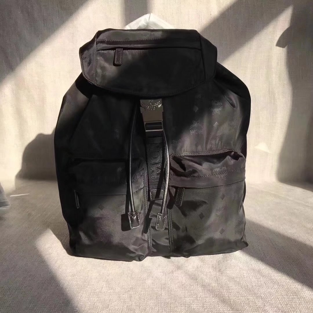 MCM Dieter Two Pocket Backpack In Monogrammed Nylon