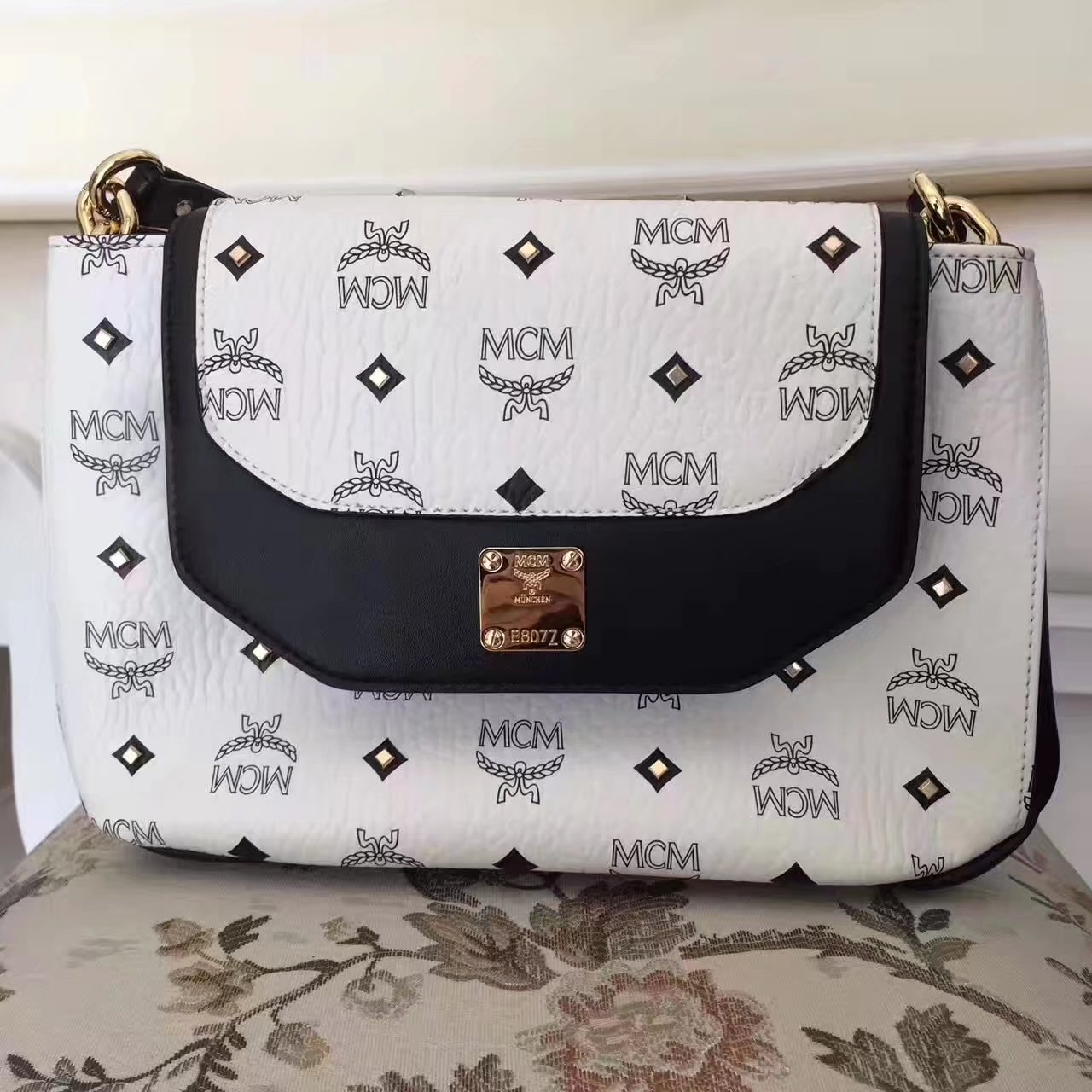 MCM Small Visetos Satchel White