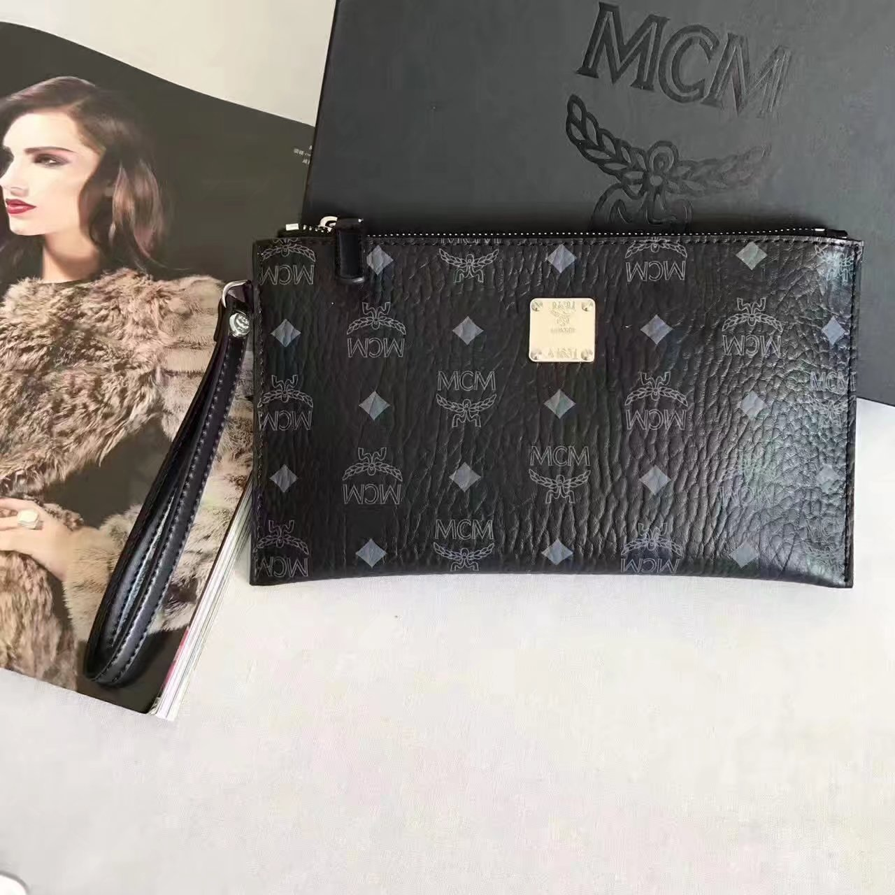 MCM Stark Pouch With Wristlet Black